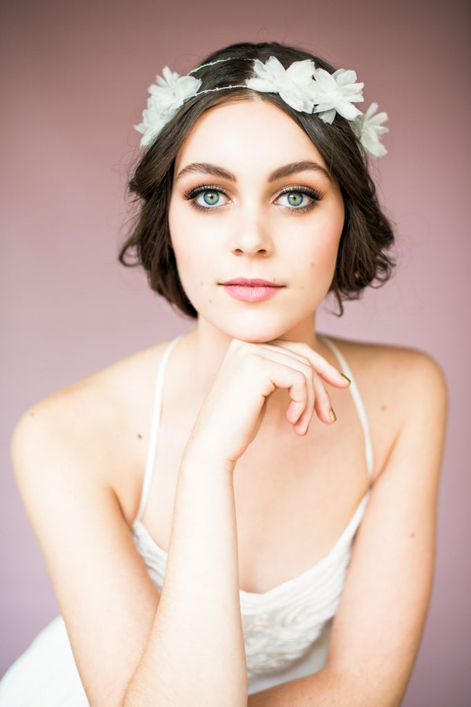 Ivory Flower Garland Crown - Handmade in Toronto Canada - Blair Nadeau Millinery Bridal Adornments - Whitney Heard Photography