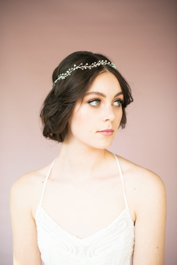 JANET Pearl & Crystal Hair Vine Crown