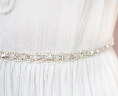 Lace Crystal Trimmed Bridal Belt - Handmade in Toronto - Blair Nadeau Millinery - Whitney Heard Photography