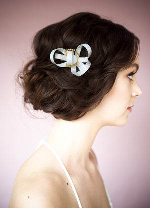 Ivory Silk Ribbon Bridal Fascinator - Handmade in Toronto Canada - Blair Nadeau Millinery - Whitney Heard Photography