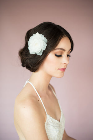 Ivory Handcrafted Soft Voile Hair Flower with Leaves & Lace - made in toronto ontario canada - blair nadeau bridal - whitney heard photography