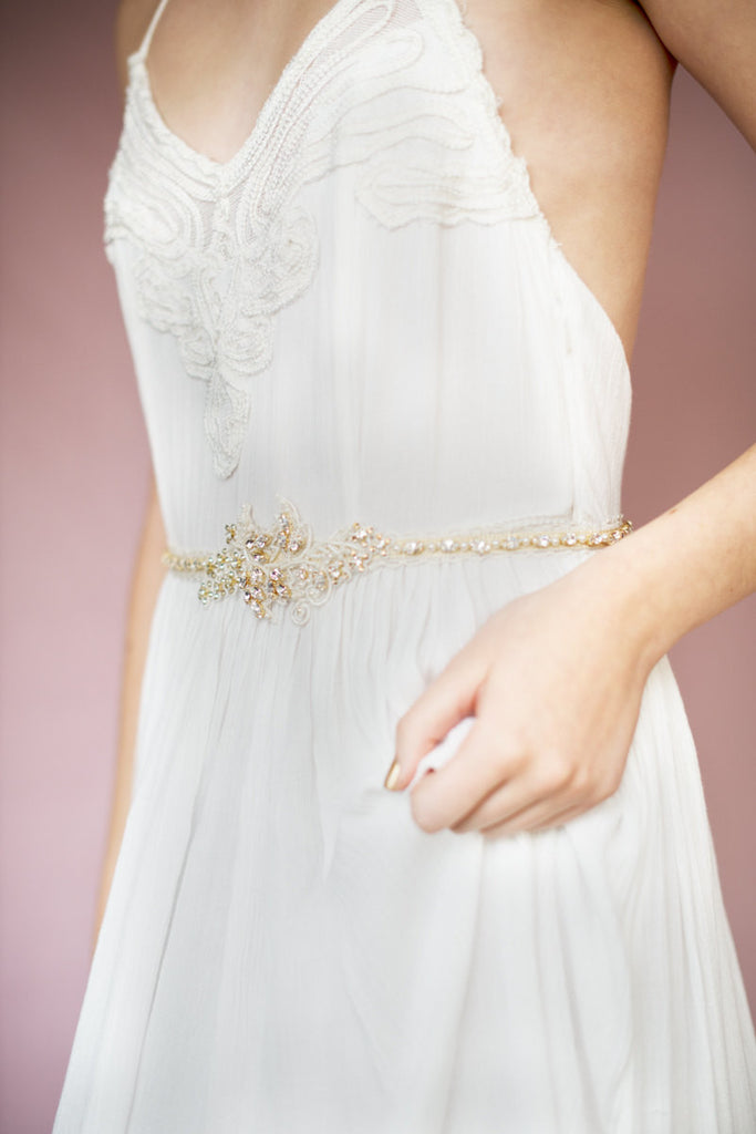Gold Crystal Beaded Lace Bridal Dress Belt