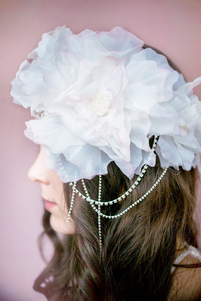 Silk Flower Bridal Crown -  Handmade in Toronto Canada - Blair Nadeau Millinery - Whitney Heard Photography