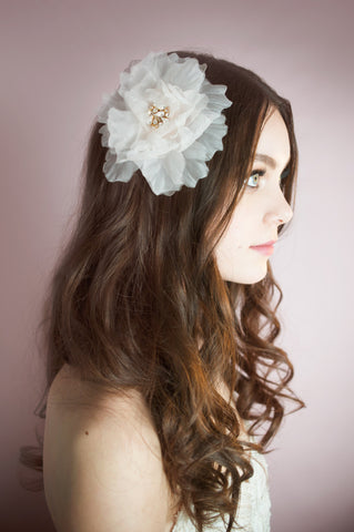 Blush Silk Organza Bridal Flower - Handmade in Toronto Canada - Blair Nadeau Millinery Bridal Adornments - Whitney Heard Photography