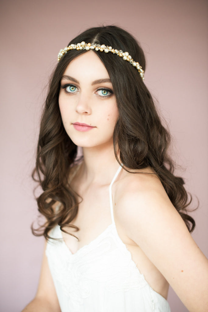 NATASHA Crystal & Pearl Crown