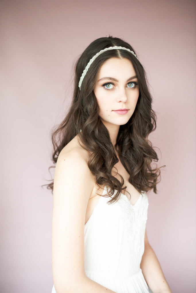 crystal beaded lace headband - handmade in toronto canada - bridal headpiece - Blair Nadeau Millinery - Whitney Heard Photography