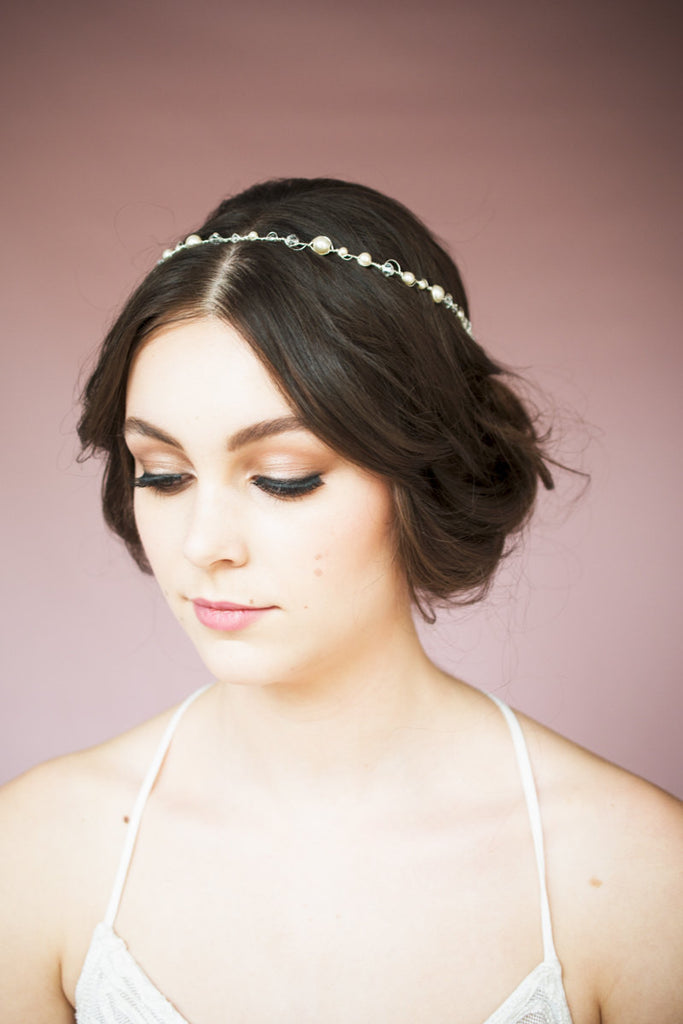 Crystal & Pearl Half Halo Crown - As seen on Reign - Handmade in Toronto Canada - Blair Nadeau Millinery - Whitney Heard Photography