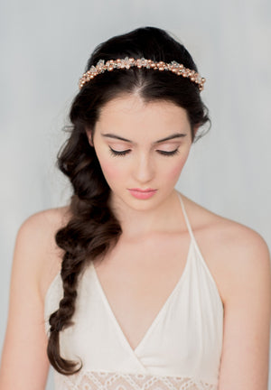 SOFIA Rose Gold Crystal Floral & Pearl Crown (More Colours)