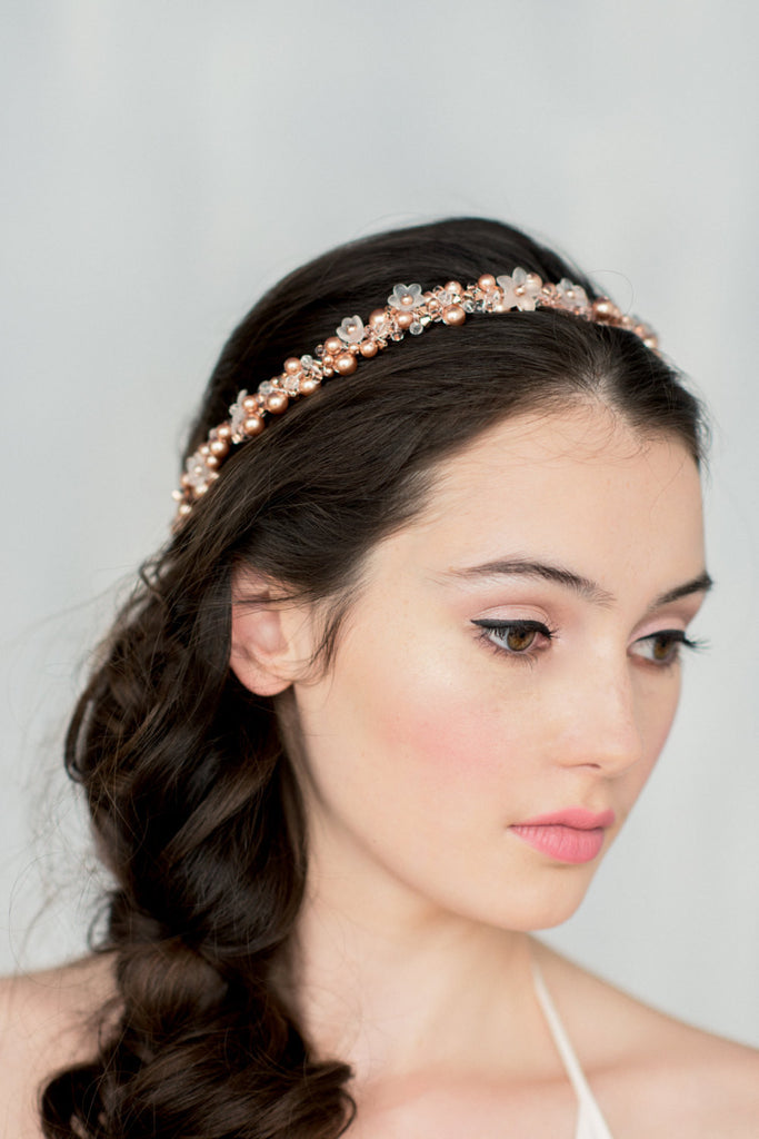 SOFIA Rose Gold Crystal Floral & Pearl Crown