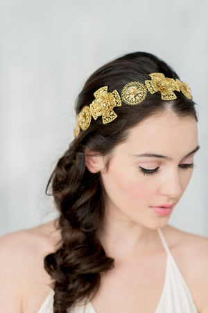 OLEENA Gold Medallion Medieval Bridal Crown (More Colours)