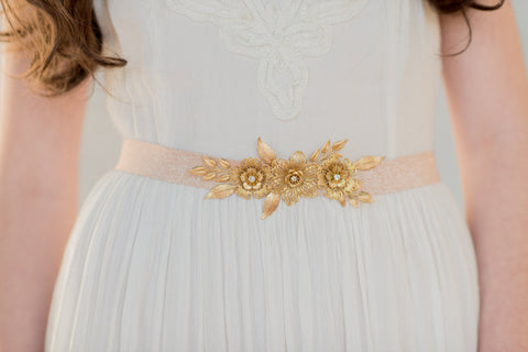 Golden Brass Flower and Leaf Bridal Dress Belt - Handmade in Toronto Canada - Blair Nadeau Millinery Bridal Adornments - Whitney Heard Photography