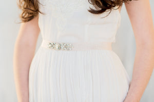 PHOEBE Crystal Wedding Dress Belt  (More Colours & Lengths)