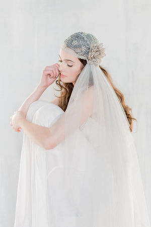 LUCIENNE Grey Bridal Juliet Cap Veil (More Lengths) (More Colours & Lengths)
