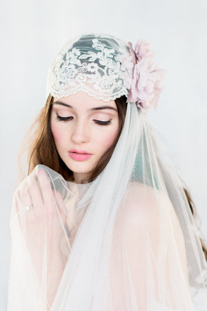 COLETTE Lace Juliet Bridal Cap Veil  (More Colours & Lengths) (More Colours & Lengths)