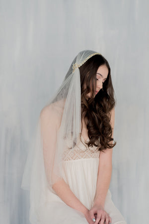 SUSSANAH Crystal Beaded Juliet Cap Veil  (More Colours & Lengths) (More Colours & Lengths)