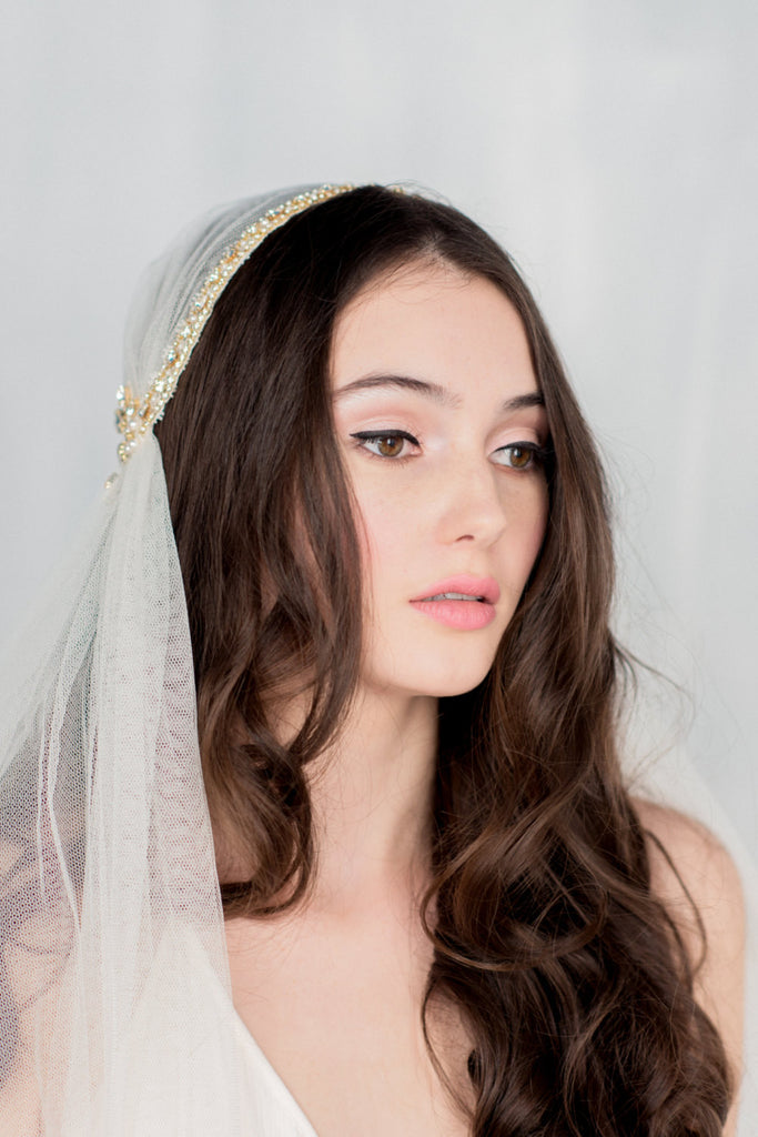 SUSSANAH Crystal Beaded Juliet Cap Veil