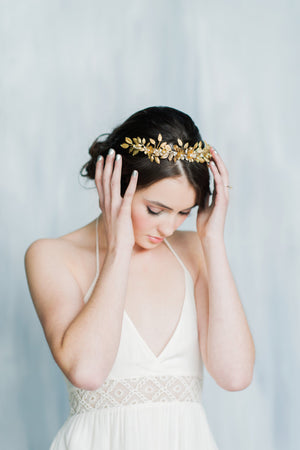 golden brass laurel leaf bridal crown with pearls - handmade in toronto ontario canada - blair nadeau bridal adornments
