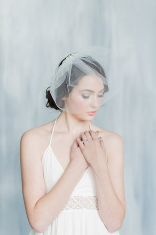 CLAUDIA Tulle Blusher Veil with Crystal & Pearl Comb