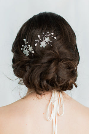 JUDITH Crystal & Pearl Flower Hair Pin