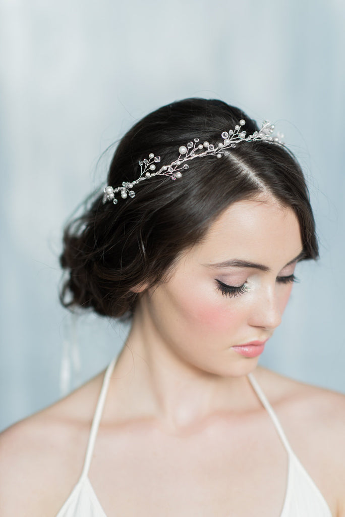KIERRA Crystal & Pearl Twig Half Crown