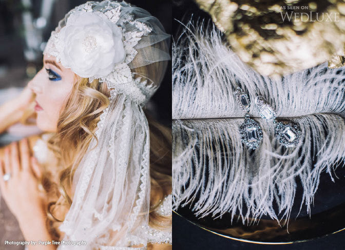 HARLOW Lace Beaded Juliet Cap Bridal Veil