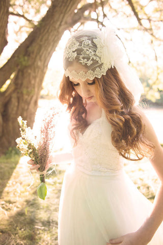 AURORA Ivory Beaded Juliet Cap Bridal Veil