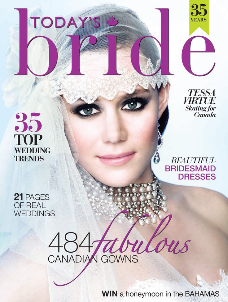 Vintage Inspired Crystal Juliet Cap Veil - Handmade in Toronto Canada - Blair Nadeau Millinery - Cover of Todays Bride Magazine Tessa Virtue