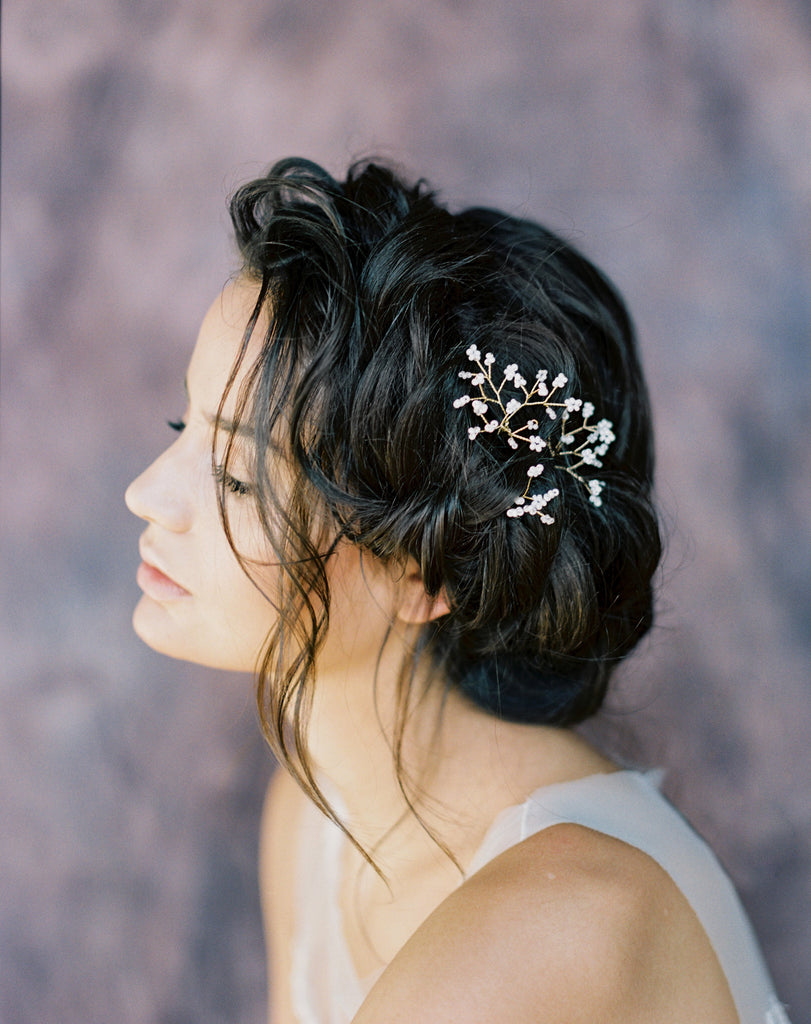 Ivory Modern Babies Breath Hair Pins - Handmade in Toronto Canada - Blair Nadeau Bridal Adornments - Whitney Heard Photography