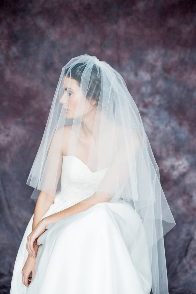 Off White Blusher Double Layer Gathered Veil with Pearl & Crystal Comb - Handmade in Toronto Canada - Blair Nadeau Bridal Adornments - Whitney Heard Photography
