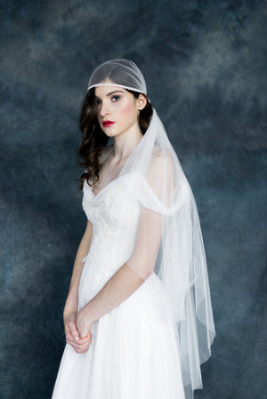 Ivory Crystal Knotted Juliet Bridal Cap Veil - Handmade in Toronto - Blair Nadeau Millinery - Whitney Heard Photography