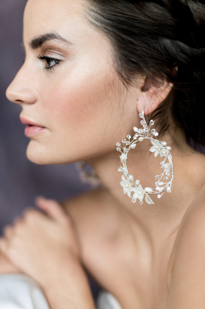 Silver Floral Vine Bridal Statement Earrings - Handmade in Toronto Canada - Blair Nadeau Bridal Adornments - Whitney Heard Photography