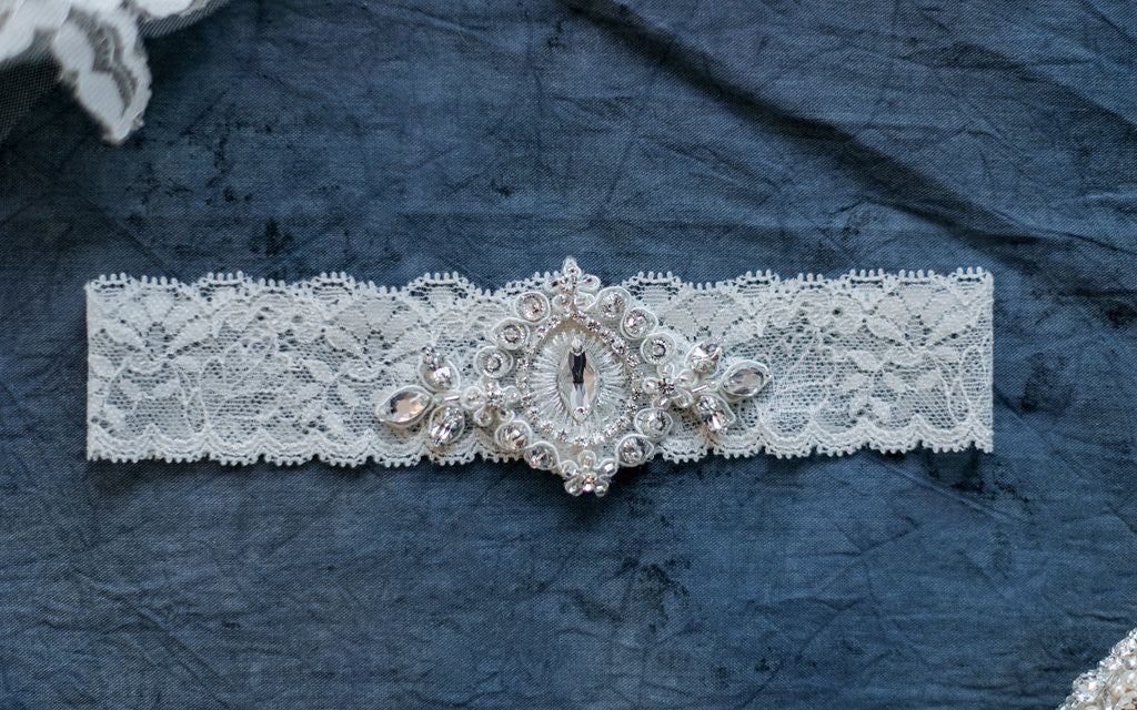 Ivory Lace Crystal Beaded Garter - Handmade in Toronto - Blair Nadeau Millinery - Whitney Heard Photography