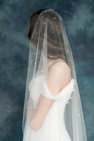 Ivory Pearl Polka Dot Bridal Veil - Handmade in Toronto - Blair Nadeau Millinery - Whitney Heard Photography