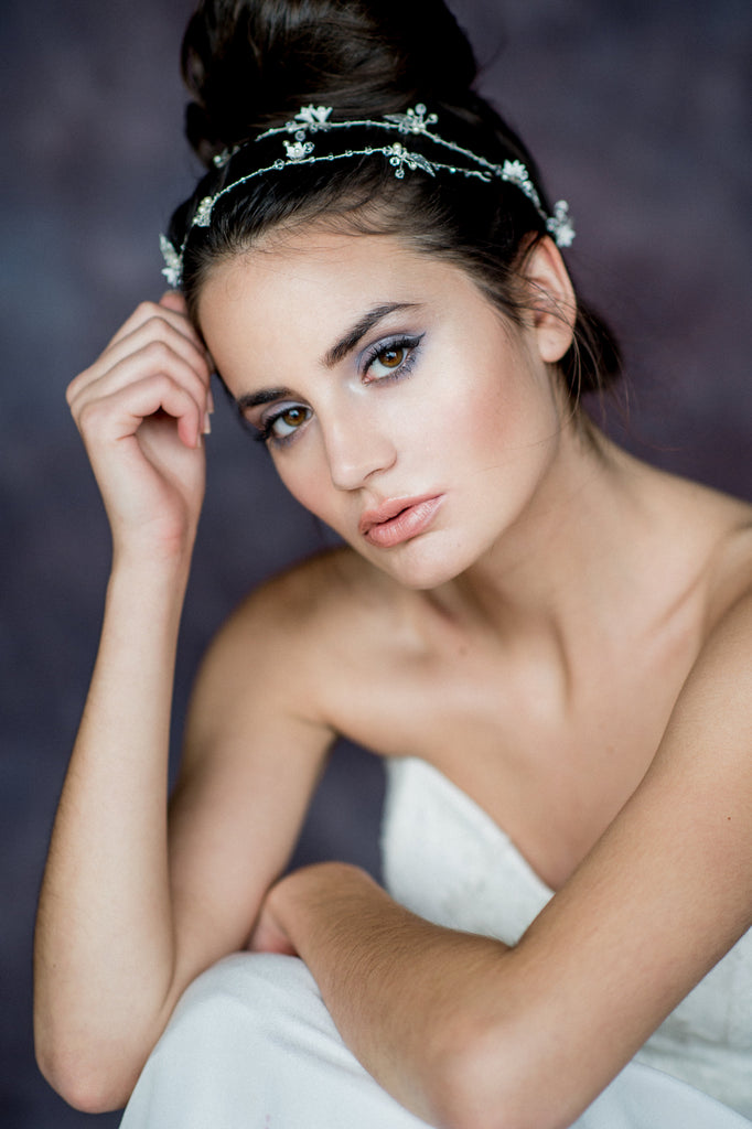 Silver Floral Leaf Crystal Pearl Bridal Hair Vine - Blair Nadeau Bridal Adornments - Whitney Heard Photography