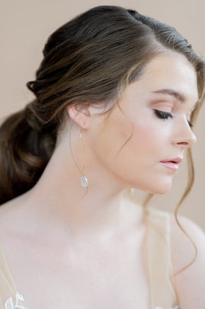 gold long freshwater baroque keshi pearl chain drop earrings - blair nadeau bridal adornments - whitney heard photography