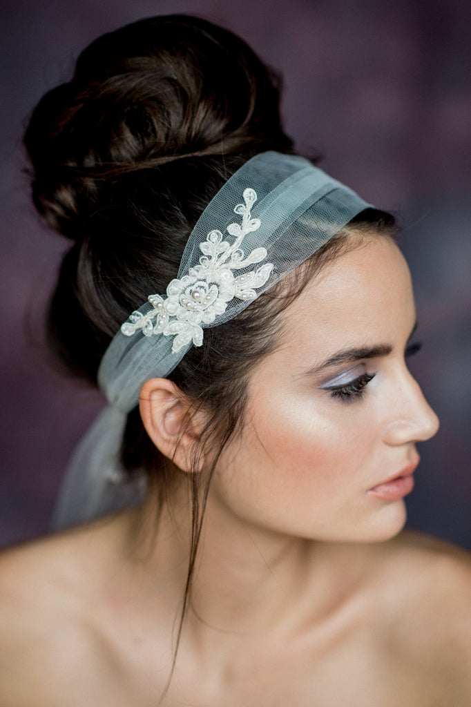 Ivory Crystal Beaded Lace Tulle Bridal Headband Veil - Handmade in Toronto Canada - Blair Nadeau Bridal Adornments - Whitney Heard Photography