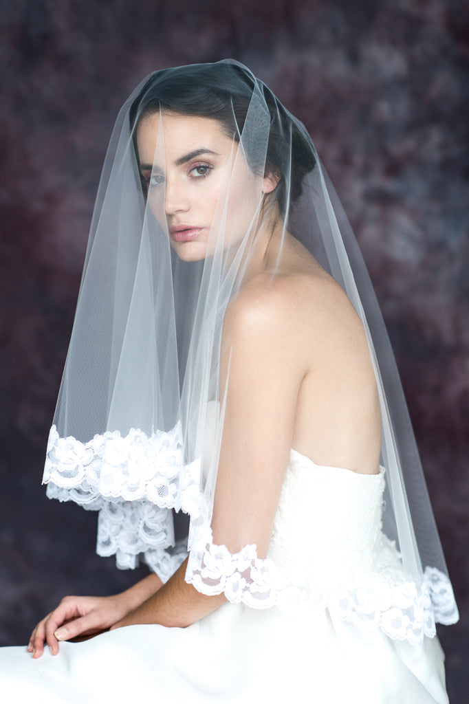 Vintage Lace Trimmed Bridal Drop Veil - Handmade in Toronto Canada - Blair Nadeau Bridal Adornments - Whitney Heard Photography