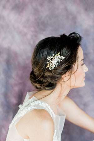 Gold Pearl Floral Bridal Hair Comb, Handmade in Toronto Canada by Blair Nadeau Bridal Adornments, Photography By Whitney Heard