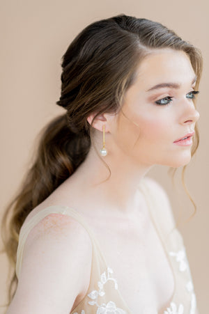 Long Gold Bar Bridal Earrings with Swarovski Pearl Drops - blair nadeau bridal adornments - whitney heard photography