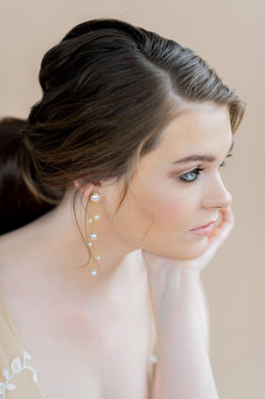 Gold Swarovski Pearl Drop Chandelier Bridal Earrings - blair nadeau bridal adornments - whitney heard photography