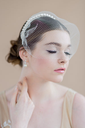 black vintage birdcage cage bandeau style veil with pearl headband - made in toronto ontario canada - blair nadeau bridal adornments - whitney heard photography