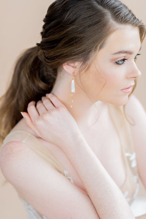 gold baroque freshwater stick pearl chandelier earrings - blair nadeau bridal adornments - whitney  heard photography