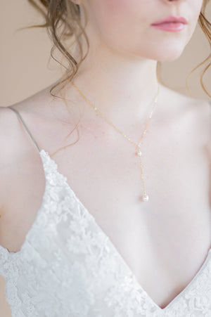 dainty gold freshwater pearl bridal y drop necklace - made in toronto ontario canada - blair nadeau bridal adornments - whitney heard photography