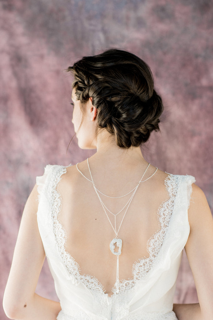 Silver Modern Agate Slice Bridal Back Necklace - Handmade Toronto Canada - Blair Nadeau Bridal Adornments - Whitney Heard Photography