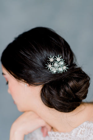 Silver Crystal and Pearl Celestial Starburst Bridal Hair Comb, made in Toronto Ontario Canada, Blair Nadeau Bridal, Whitney Heard Photography