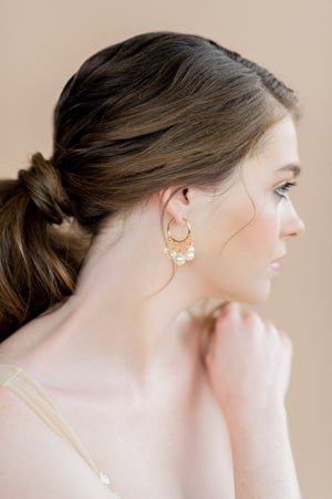 Gold graduated pearl bridal hoop earrings - blair nadeau bridal adornments - whitney heard photography