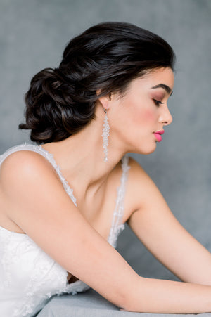 Silver Extra Long Clear Crystal Beaded Cascading Bridal Earrings - Made in Toronto Canada - Blair Nadeau Bridal - Whitney Heard Photography