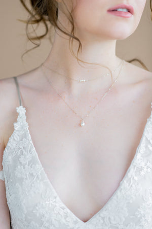 silver dainty freshwater pearl double layer bridal necklace - made in toronto ontario canada - blair nadeau bridal adornments - whitney heard photography