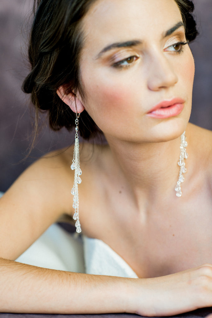 Extra Long Sterling Silver Crystal Teardrop Statement Earrings - Handmade in Toronto Ontario - Blair Nadeau Bridal Adornments - Whitney Heard Photography