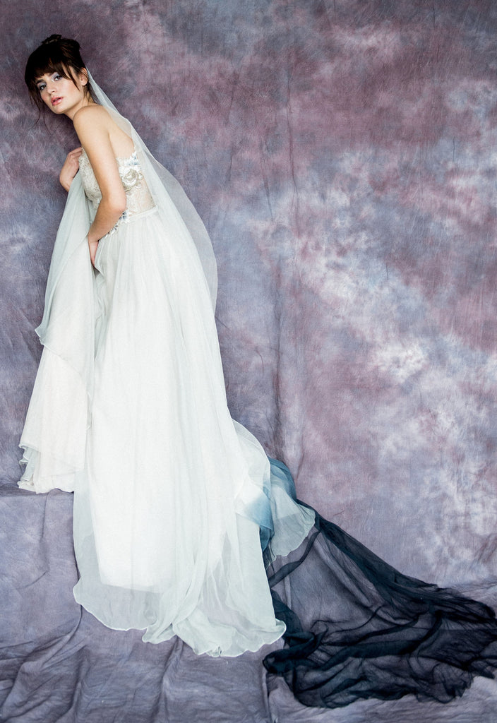 Dip Dyed Ombre Bridal Veil - Handmade in Toronto Canada - Blair Nadeau Bridal Adornments - Whitney Heard Photography